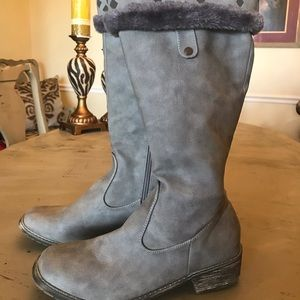 Shoes - Grey Distressed soft leather boots
